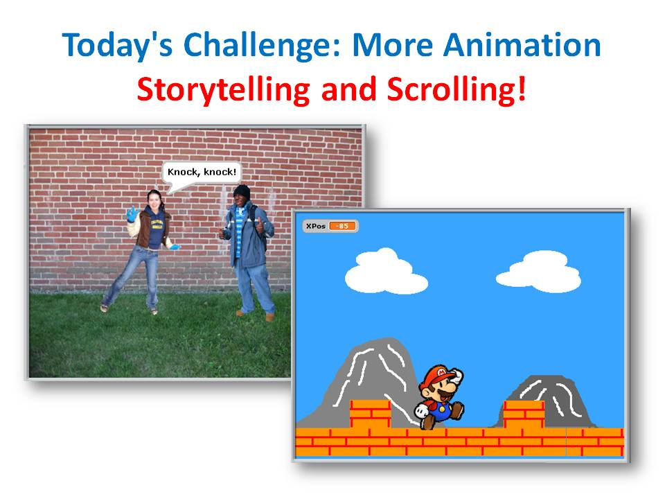 Beginners Scratch – Challenge 6 – Story-Telling and Scrolling Backgrounds!