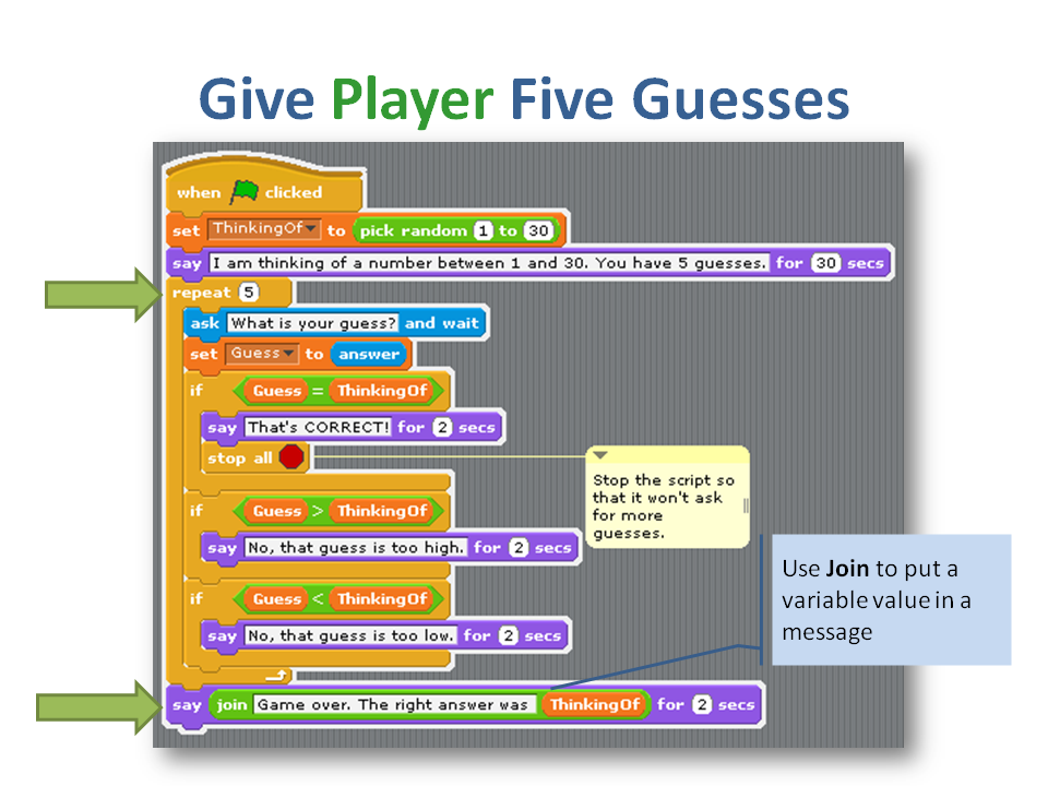 how to make a guessing number game - Discuss Scratch