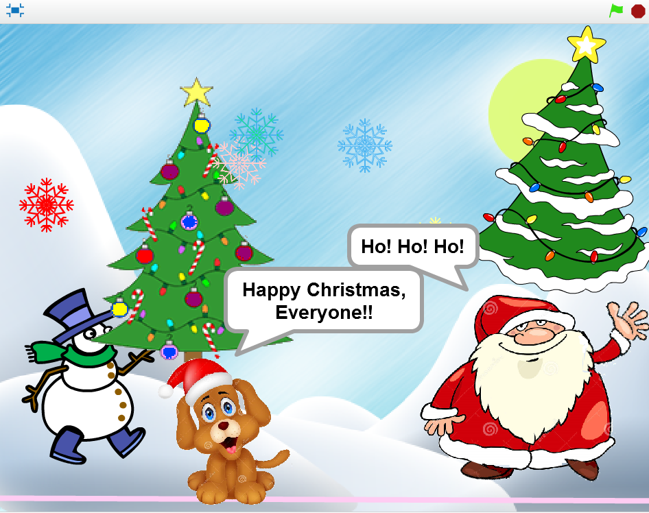 i searched the internet for christmas cartoon images and saved a few to my computer - Animated Christmas Scene Decorations